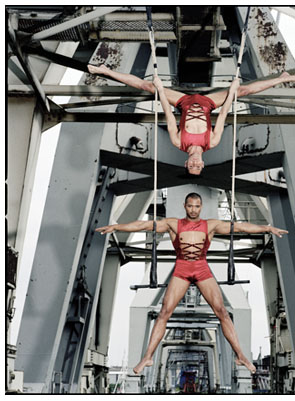 Duo Sorellas, Christophe Gobet und Jean-Rodrique Funke, trapeze artists