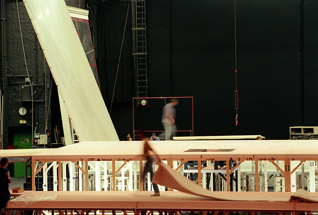 workers building the stage at the opera house